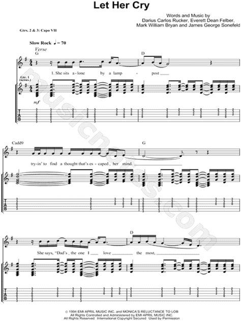 """Hootie & the Blowfish """"Let Her Cry"""" Guitar Tab in G Major"""