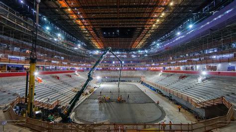 Little Caesars Arena update: Crews pour concrete for ice rink
