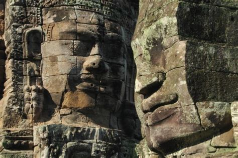 Stone faces of the Bayon in Angkor Thom - Siem Reap