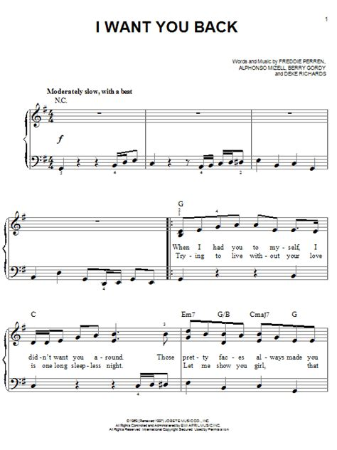 I Want You Back sheet music by The Jackson 5 (Easy Piano