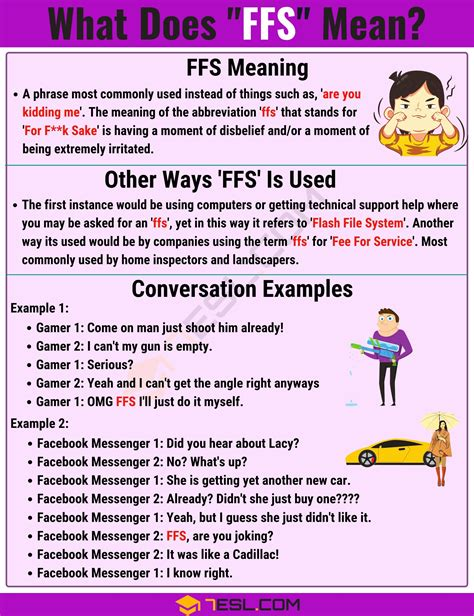 FFS Meaning: What Does FFS Mean And Stand For? - 7 E S L